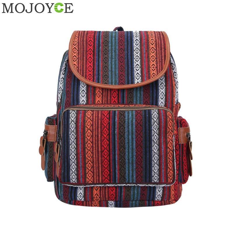 Canvas Women Backpack Teenager School Bag Female Bohemian Ethnic Rucksack Bagpack Large Capacity Travel Backpack Shoulder Bag
