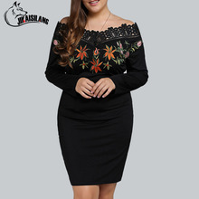 Black Embroidery Dress Women Sexy Off Shoulder Party Dresses Brief 2017 Bodycon Long Sleeves Floral Dress Plus Size Clothes