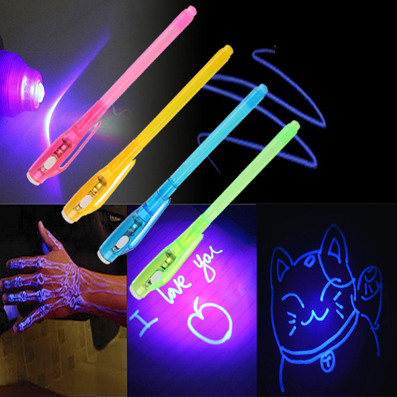 Luminous Light Pen Invisible Ink Magic UV Light Money Detector Pen 2 In 1 Combo Purple Light Drawing Learning Education For Kids