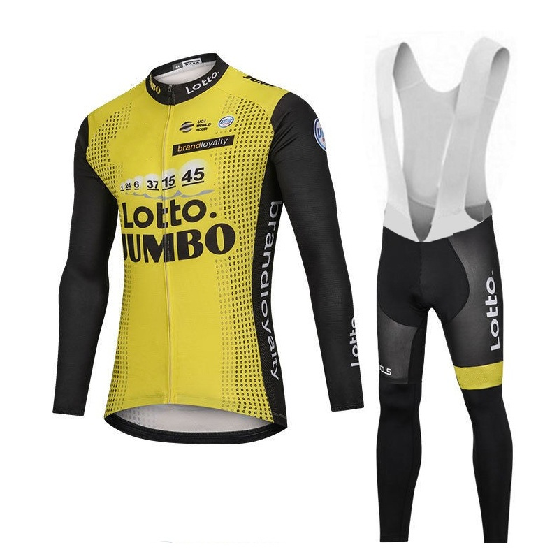 цена winter fleece 2018 pro team lotto jumbo cycling jersey kits men long sleeve bike cloth MTB Ropa Ciclismo Bicycle maillot gel pad онлайн в 2017 году