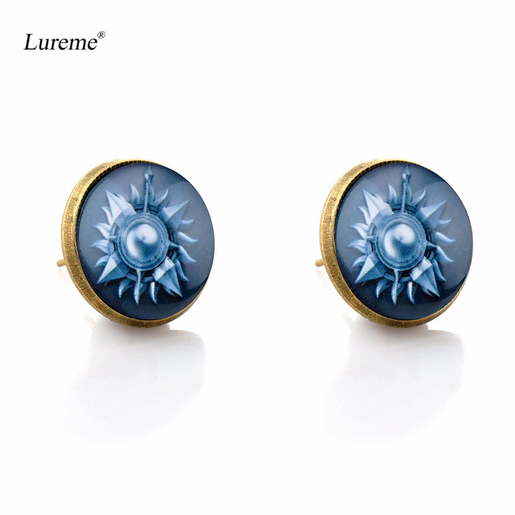 Lureme Bronze Color Glass Time Gem Game of Thrones Stud Earrings for Women Grils (er005860)