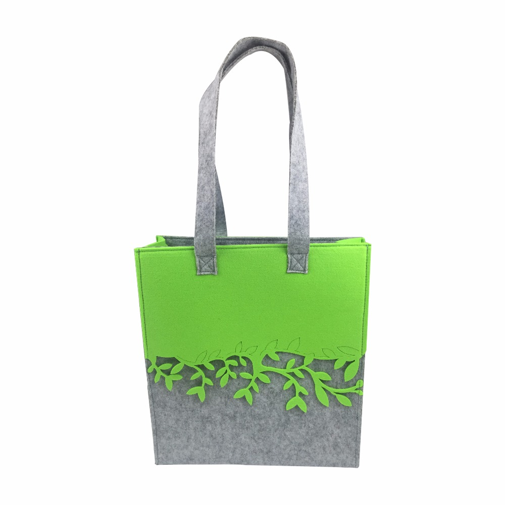 FELT contrast color shopping bag for women fashion style designed tote bag for shopping ...