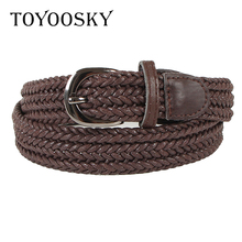 TOYOOSKY Women Knitted Belt Top quality 2.5 cm Wide Woven Stretch Braided Elastic Leather Buckle luxury Canvas 100cm belts