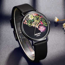 BAOSAILI Floral Women Watches Black Quartz Dress Watch Lady Life Water Resistant Leather Wristwatch Japan Movement Drop Shipping
