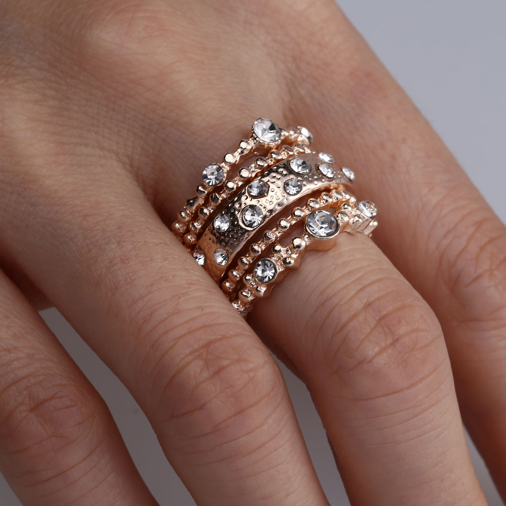 simple rhinestone golden ring set women girls trendy midi ring set knuckle rings fashion jewelry - Simple Wedding Ring Sets