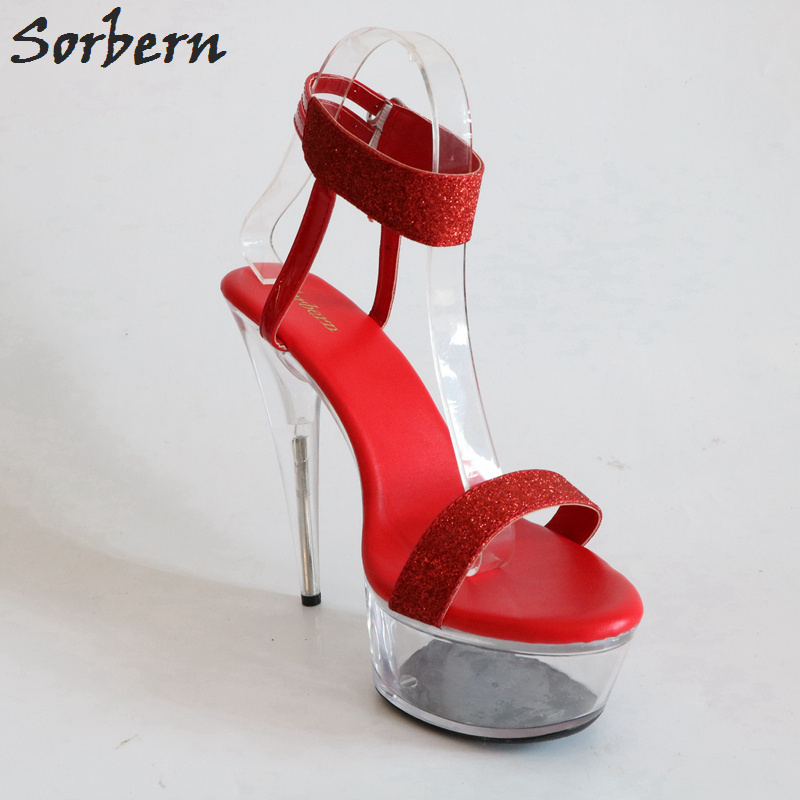 Pattini Signore Color Della Scarpe Donna Custom Stile Glitter Donne argento Red Alti Trasparente Delle Rosse Piattaforma Sandali 43 rosso Tacchi Estate Di Sorbern Formato q1S6txp1w