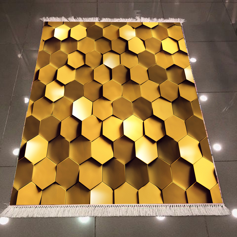 Else Golden Yellow White Hexagon Honeycomb 3d Pattern Print Microfiber Anti Slip Back Washable Decorative Kilim Area Rug Carpet