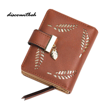 Women's Hollow Leaves Purse Zipper Leather Ladies Wallet Women Luxury Brand Small Female Wallet For Credit Cards