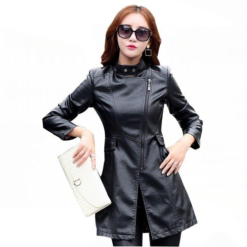 M-5XL   Leather   Coat Jacket Women Fashion Slim Patchwork Long Female Jacket High Quality PU Motorcycle Autumn Winter Outerwear PY