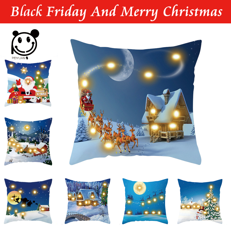 PEIYUAN Blue Cushion Cover Led Light Merry Christmas X-max Glow Throw Led Pillow Case Super Sofa Pillow case Cushion Pillowcase