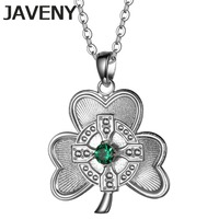 925 Sterling Silver Jewelry Green CZ Irish Cross Shamrock Leaf Clover Womens Wedding Bridal Pendants Necklaces Birthday Gifts
