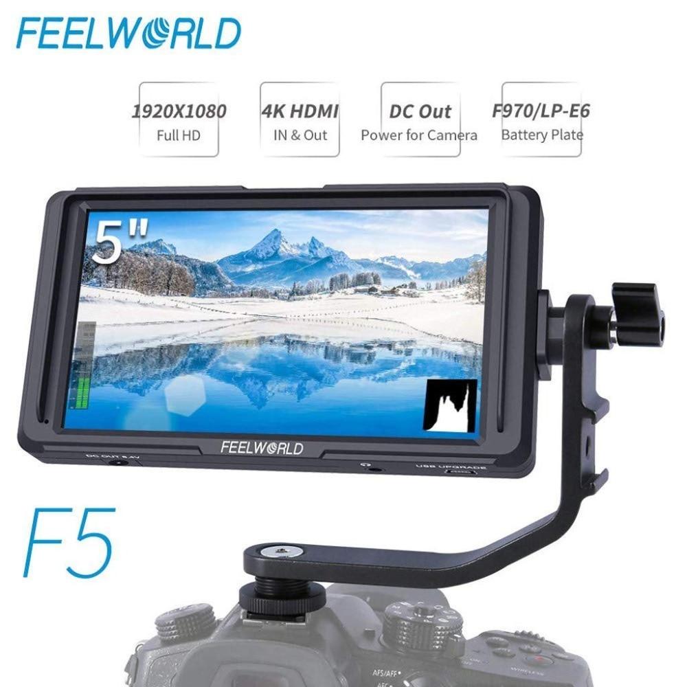 FEELWORLD F5 5 pouces DSLR sur caméra moniteur de champ petit Full HD 1920x1080 IPS mise au point vidéo avec 4 K HDMI DC sortie bras inclinable