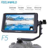 FEELWORLD F5 5 inch DSLR On Camera Field Monitor Small Full HD 1920x1080 IPS Video Focus with 4K HDMI DC Output Tilt Arm