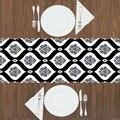Еще черно-белый Дамаск нордек этнический дизайн 3d принт узор современный Настольный бегун для кухни столовая скатерть