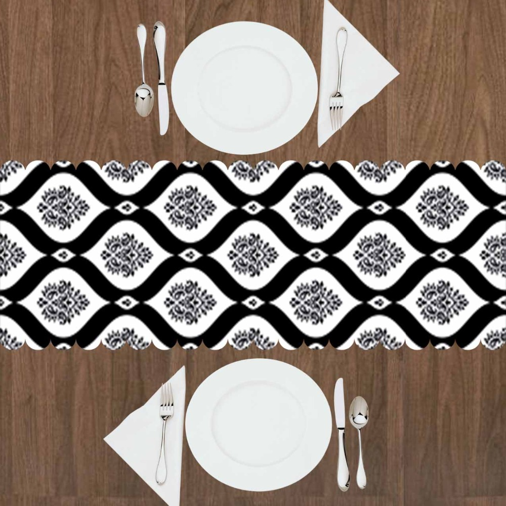 Else Black White Damask Nordec Ethnic Design 3d Print Pattern Modern Table Runner  For Kitchen Dining Room Tablecloth