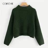COLROVIE Green Drop Shoulder Step Knitted Sweater Girls 2018 Winter Sweater Ladies Jumpers Long Sleeve Pullover Women Sweaters