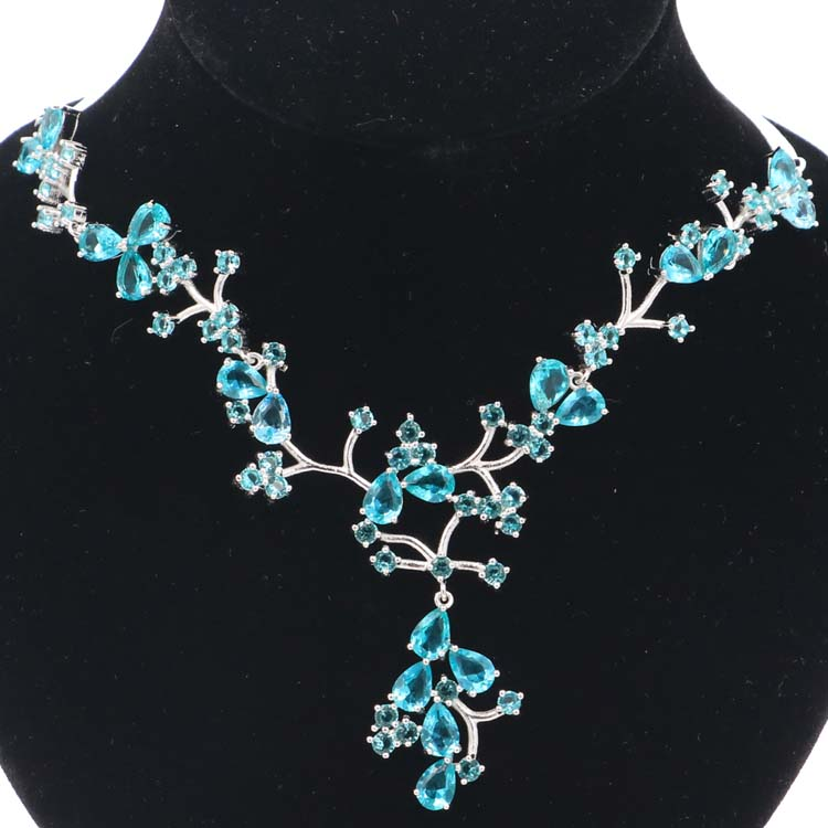 Romantic Rich Blue Aquamarine Gift For Woman s Silver Necklaces 18 5 19inch 58x48mm