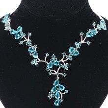 Elegant London Blue Topaz, White CZ Womans Wedding Silver Necklace Gift 19.5 inch