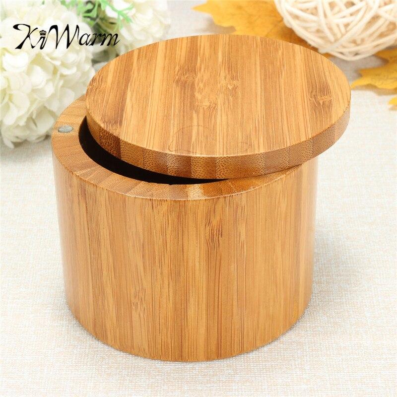 Us 671 17 Offkiwarm Przenośny Naturalne Drewno Bambusowe Okrągłe Soli Spice Jar Box Pojemnik Do Przechowywania W Kuchni Przypadku Z Magnesem