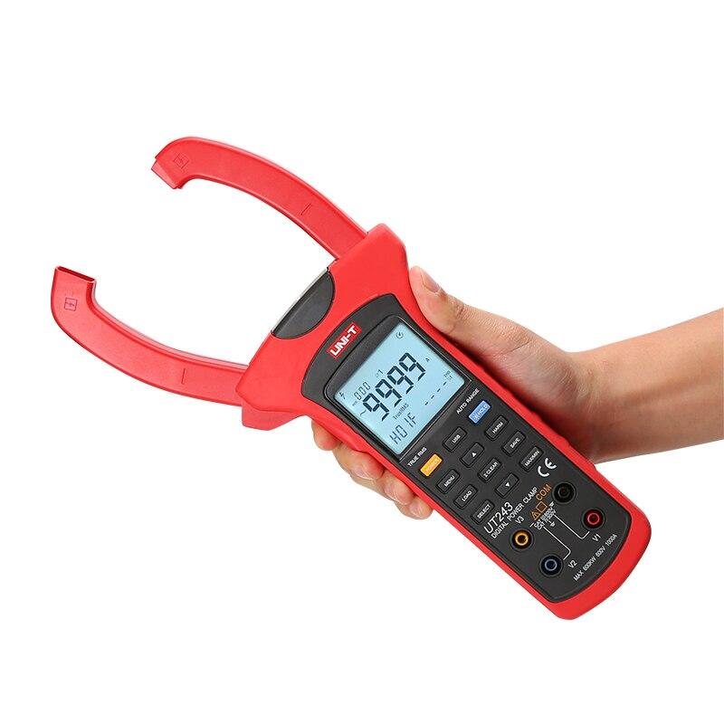 UNI-T UT243 Power and Harmonics Clamp Meter; True RMS Clamp Power Meter, Data Storage, USB Data Transfer / LCD Backlight