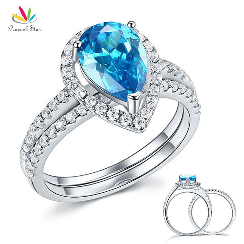 Pea Star Solid Sterling 925 Silver Bridal Wedding Engagement Ring Set 2 Ct Pear Fancy Blue Jewelry Cfr8222