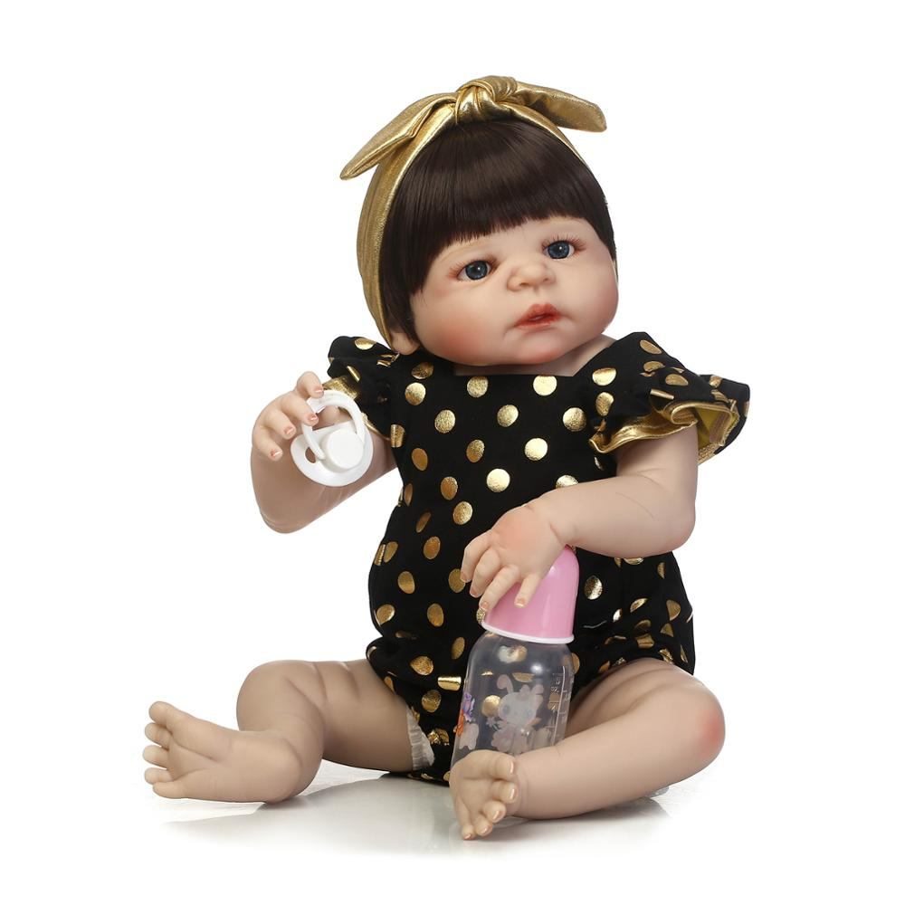 NPK Full body silicone reborn girl baby doll toys 57cm newborn babies doll reborn blond hair girl dolls gift real bebe bonecas npk bebe gift realista reborn dolls 23 inch 57cm full silicone body reborn babies boy dolls children new year gift bath toys bon