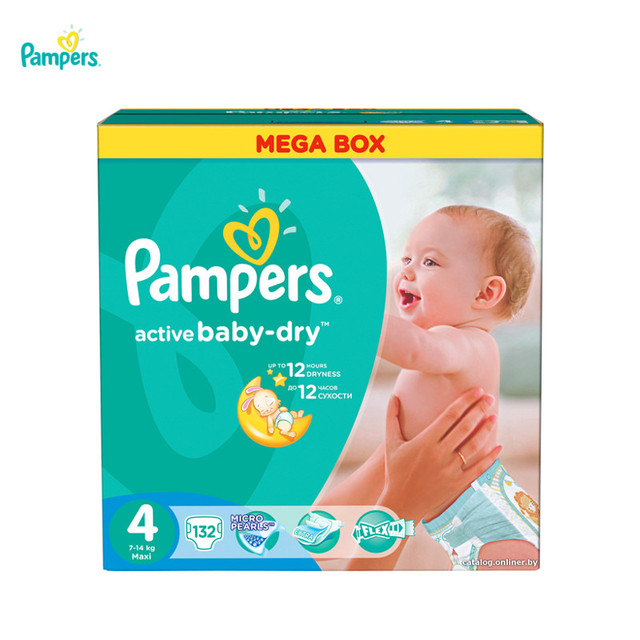 Подгузники PAMPERS Active Baby-Dry Maxi 8-14 кг Mega 132