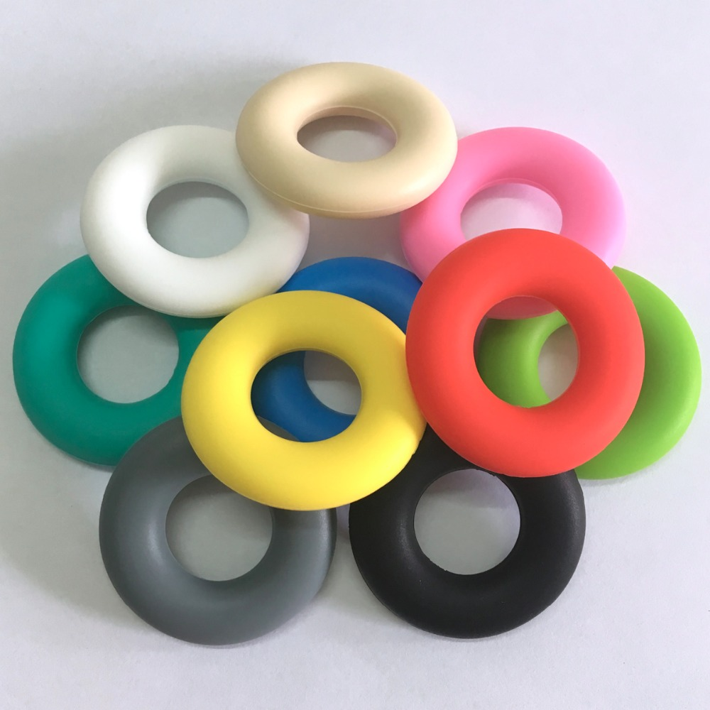 BPA Free 100% Food Grade Little Donut Silicone Loose Beads Non-toxic Silicone Donut Beads Teething Baby Chew Beads Teething Ring