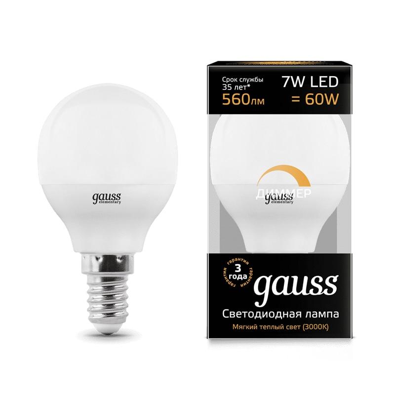 Лампа светодиодная шар Gauss LED Globe dim E14 E27 7W 3000К 4100К диммируемая 105102207 D 105102107 D 105101207 D 105101107 D - 2