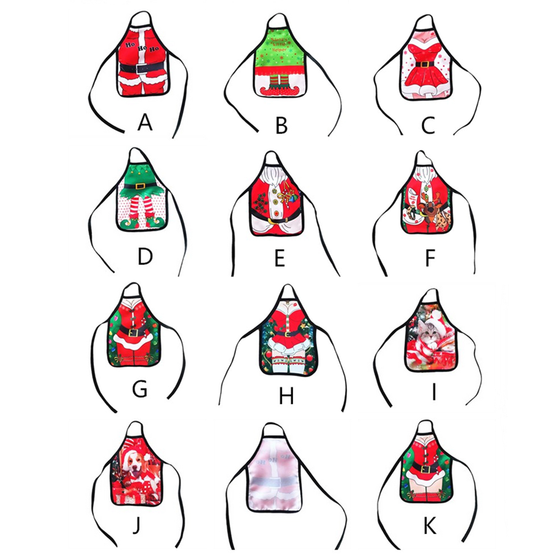 1Pcs Mini Apron Shape Christmas Wine Bottle Cover Wine Gift Bag Xmas Dinner Table Party Decor(Random Delivery from 11 Patterns)