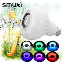 Smuxi E27 15W LED RGB Wireless Bluetooth Speaker Music Light Bulb Playing Lamp Remote Control Decor