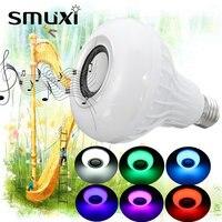 Smuxi E27 15 W LED RGB Lâmpada de Luz Sem Fio Bluetooth Speaker Música Jogando Decoração Da Lâmpada + Controle Remoto de Iluminação de Palco