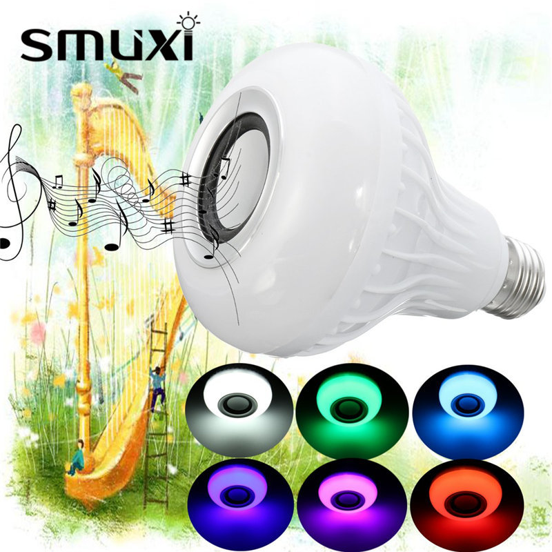 Smuxi E27 15W LED RGB Wireless Bluetooth Speaker Music Light Bulb Playing Lamp + Remote Control Decor Stage Lighting smuxi e27 led rgb wireless bluetooth speaker music smart light bulb 15w playing lamp remote control decor for ios android