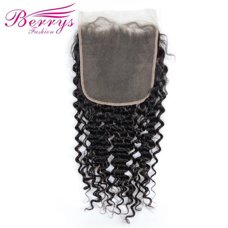 Berrys Fashion 7x7 Lace Closure Deep Wave Brazilian Virgin Hair Free Part Prepluncked Closure Unprocessed Human
