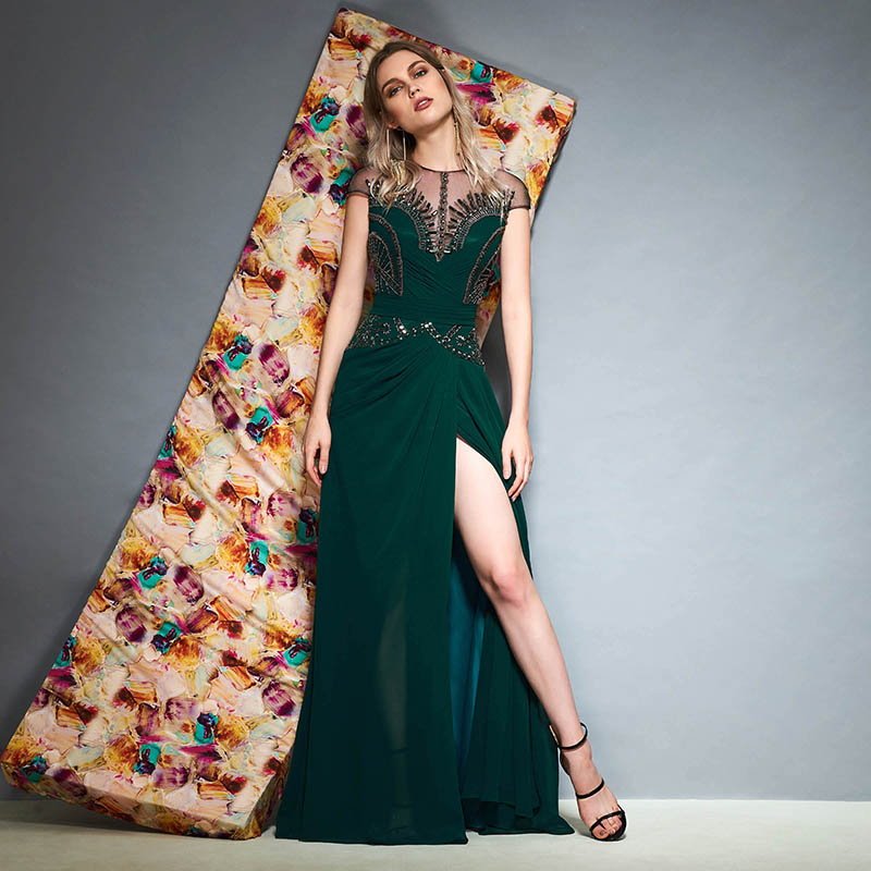 c425ca48038c4 Tanpell beading long evening dress hunter cap sleeves floor length a line gown  women cocktail formal