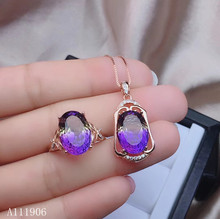KJJEAXCMY boutique jewelry 925 sterling silver inlaid natural amethyst gemstone female ring necklace pendant set new kjjeaxcmy fine jewelry 925 sterling silver inlaid citrine amethyst gemstone female necklace pendant set new luxury