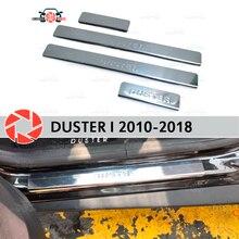 Дверные пороги для Renault Duster 2010-2018 ступенчатая пластина внутренняя отделка Аксессуары защита потертостей автомобиля Стайлинг украшение штамп модель