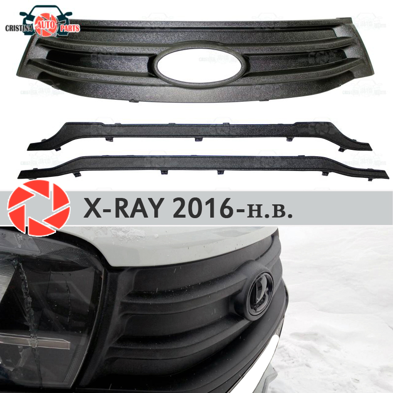 цена на Winter cover radiator for Lada X-Ray 2016- plastic ABS embossed front bumper car styling accessories decoration