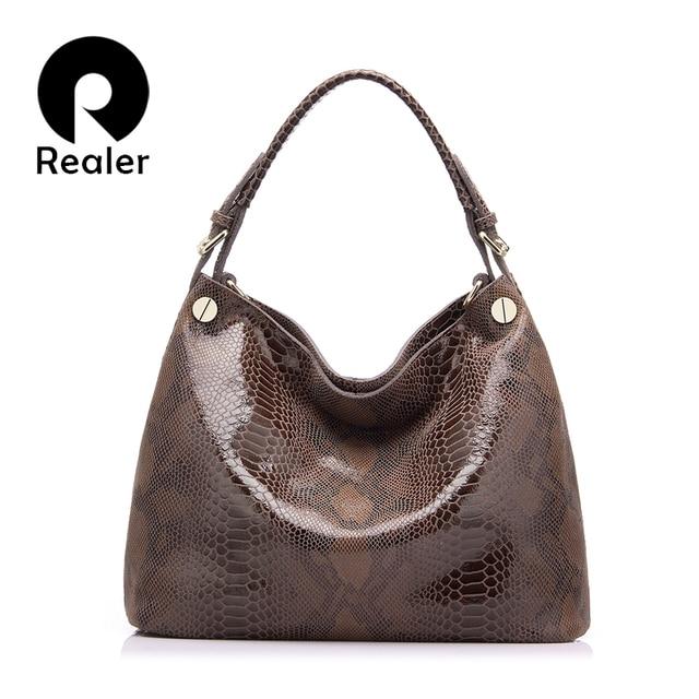 REALER качественная женская сумка из натуральной кожи со змеиным принтом, большая ручная сумка с короткими ручками, сумка женская через плечо для женщин