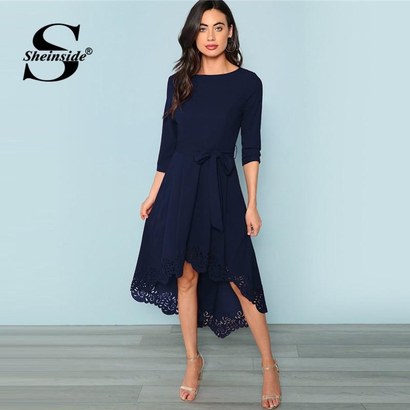 Sheinside Asymmetrical Elegant Party Dress Women Laser Cut Dip Hem Sexy Dress with Belt 2018 Autumn Womens High Waist Maxi Dress