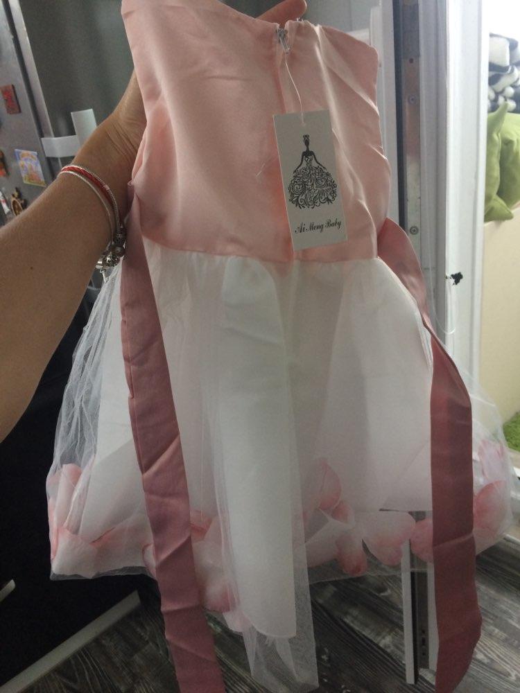Новорожденных Платье для девочек на первый день рождения лепестки тюль для маленьких девочек платье на крестины для маленькой принцессы Нарядные платья для девочек 2 т