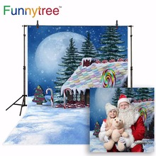 Funnytree backgrounds for photo studio Candy Gingerbread house fariy tale Christmas winter snow moon kids photography backdrop
