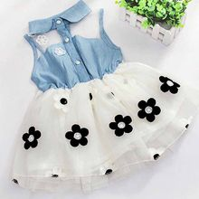New Product Promotion 2018 Summer New Beautiful Princess Yarn Mini Party Princess Dress Baby Baby Flower, Cowboy Sleeveles(China)
