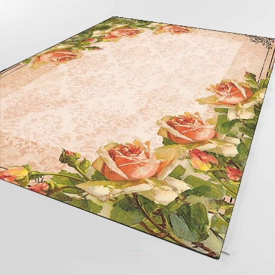 Else Pink Roses Green Ivy Leaves Vintage Retro 3d Print Non Slip Microfiber Living Room Decorative Modern Washable Area Rug Mat