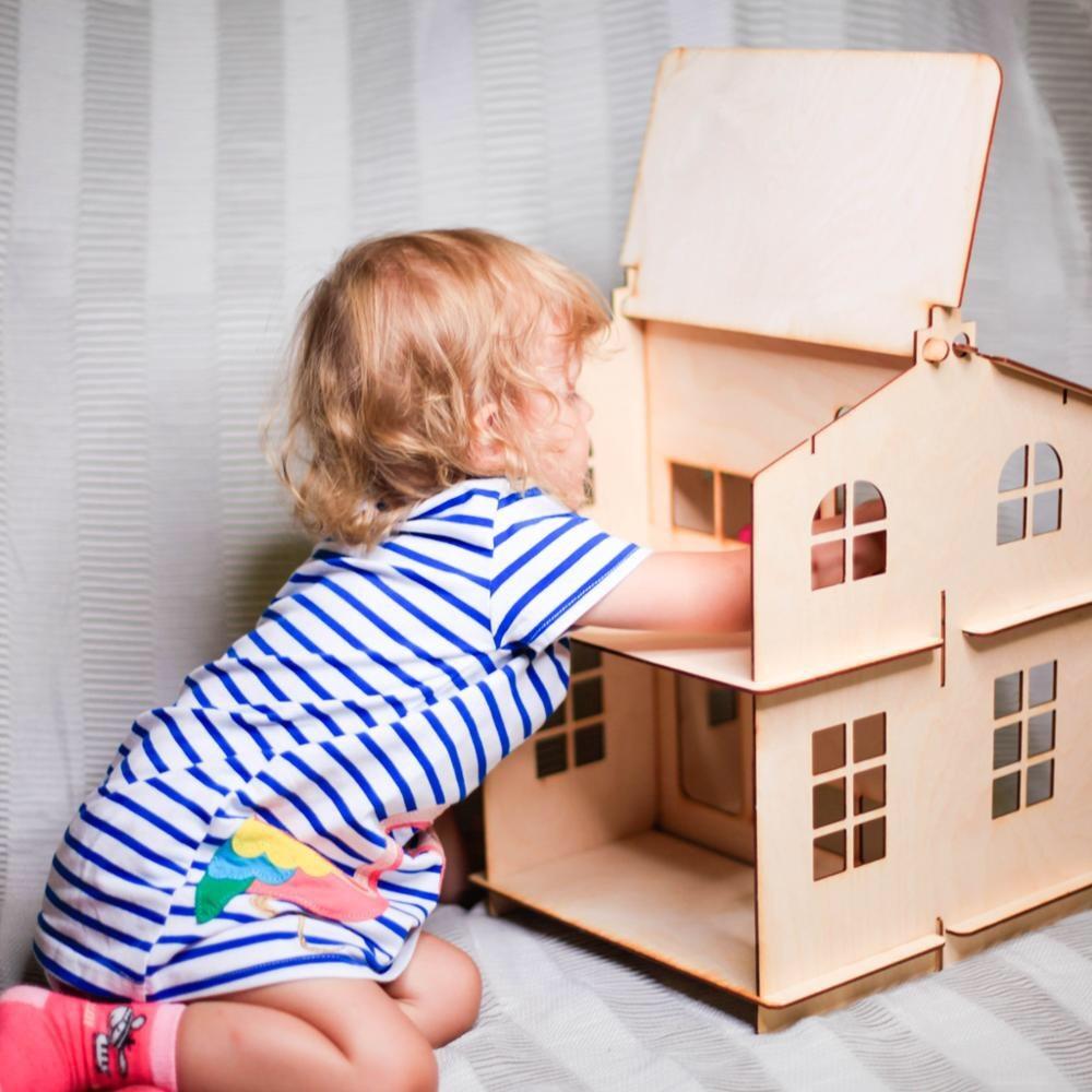 Poupées maison jouets maison nouvel an cadeaux bricolage maison de poupée Miniature en bois bâtiment Brithday poupée accessoire bloc partie contreplaqué DFM-2