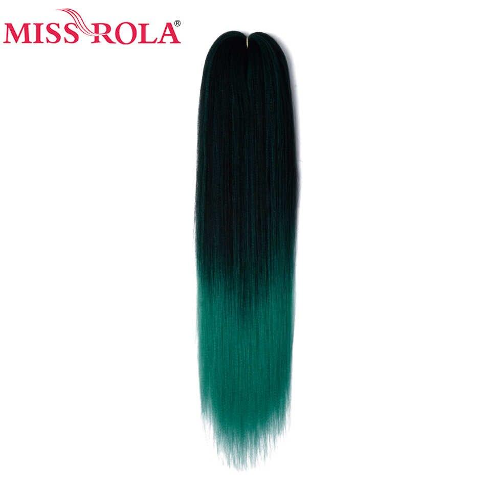 Miss Rola 24 Inches100g Yakiตรงสังเคราะห์Preยืดจัมโบ้BraidsสีชมพูสีเขียวผมKanekalon Braiding