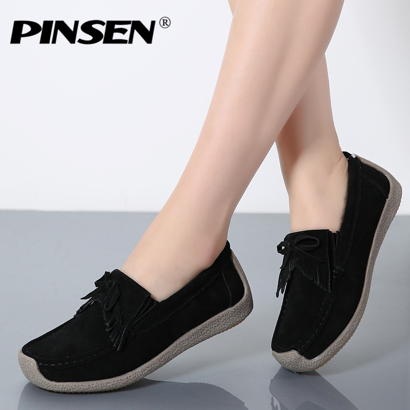 PINSEN Autumn Women Flats Leather Suede Slip on Fringe Loafers Shoes Ballet Flats Cowhide Flexible Boat Oxford Shoes creepers pinsen spring women genuine leather ballet flats casual shoes round toe slip on flats female loafers ballerina flats boat shoes