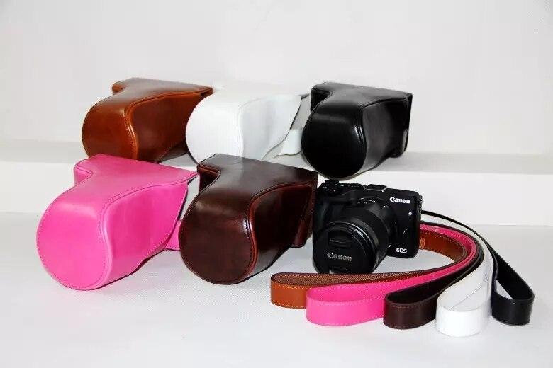 Etui pour appareil photo pochette en cuir PU pour Canon EOS M3 18-55mm/55-200mm avec bandoulière 5 couleurs en option