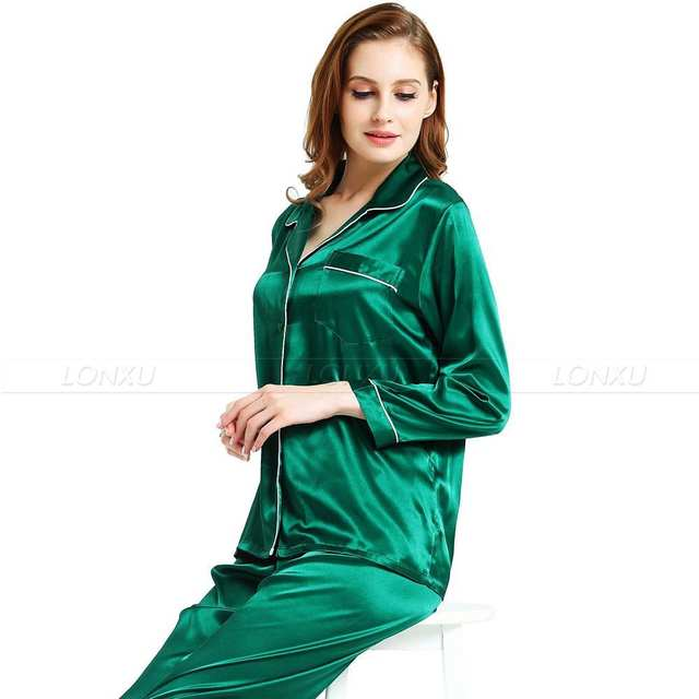 be0f80a2408 Womens Silk Satin Pajamas Set Pajama Pyjamas Set Sleepwear Loungewear XS S  M L ...