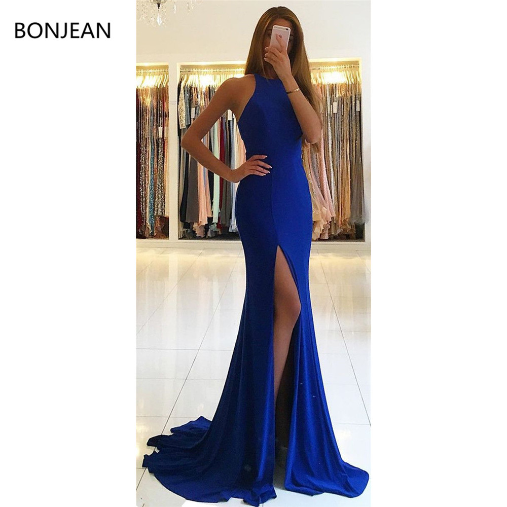 Satin Mermaid Fashion Long Prom   Dresses   Sheath Sleeveless O Neck Floor-Length Ruffles Formal Fancy   Evening     Dress   Gowns 2019